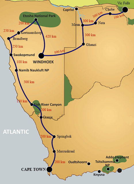 Cape to Vic Falls route
