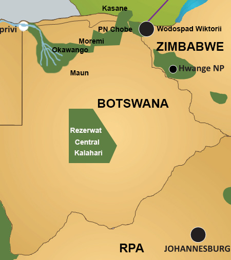 Mapa Central Kalahari Game Reserve