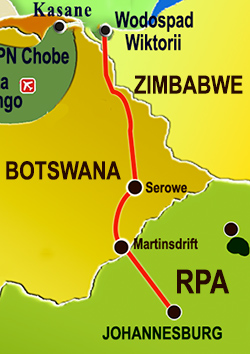 Route from Zimbabwe to Johannesburg